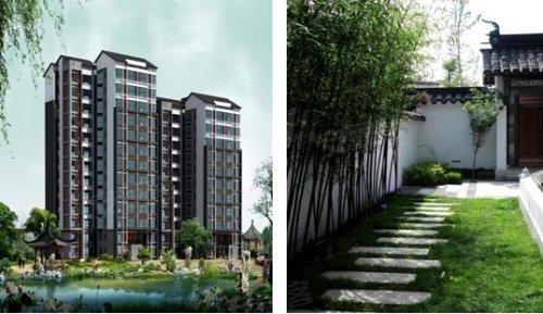 江南城小高层效果图 江南城园林景观实景图