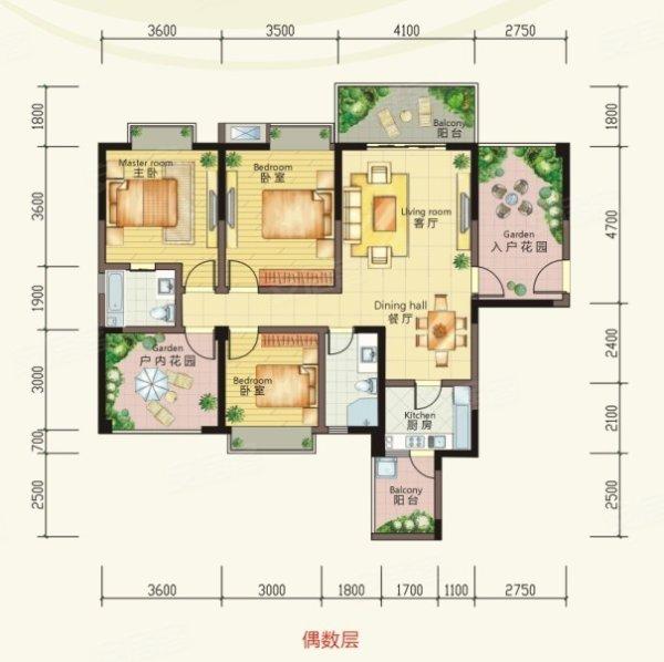 中庭景观,观景效果极佳; 奢华四阳台设计; 入户花园设计,引自然