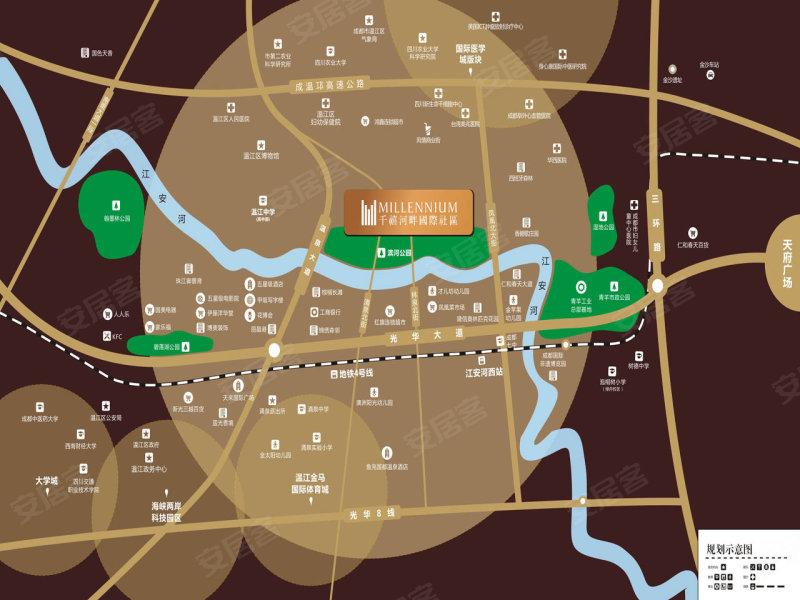 上风上水的光华国际新城、江安河畔北岸,周边环境优美、河流潺潺,