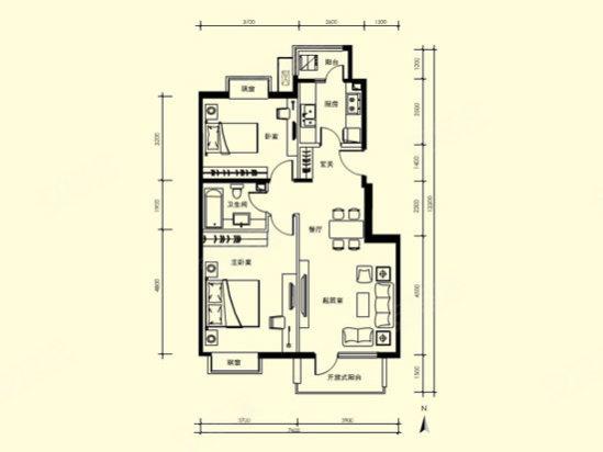 户型介绍:   该户型为90平米2室1厅1卫.该户型南北通透,居